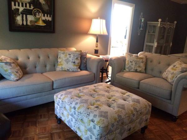 Living Room Furniture $1500 - I don't love the pattern on the ottoman or pillows but the couch and love seat are new and are a nice style.