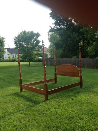 Oak Rice Queen Four Poster Bed $275