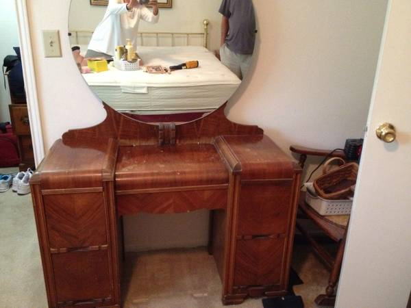 Antique Vanity with Stool $50  - This piece needs refinishing but is a good price at $50. Would look great painted.