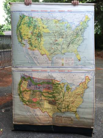 Vintage Hanging US Maps from 1945 $100 (for the pair)  - These are old school maps, they would look great hanging on the wall, this photo is one of them and there is another, $100 for both seems like a good deal.