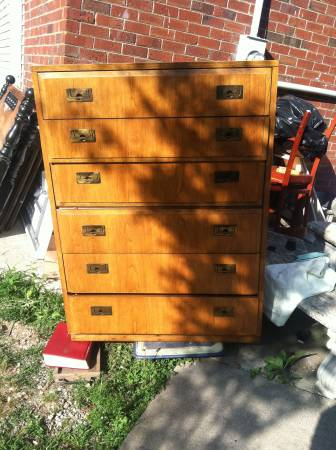 Dresser and Nighstand $50 - This is a great price, I can't quite tell the condition of the pieces but they look like they could be a campaign style.
