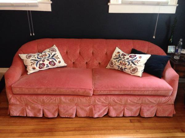 Vintage Pink Velvet Sofa $600 - This is a gorgeous sofa, looks like its in great condition.
