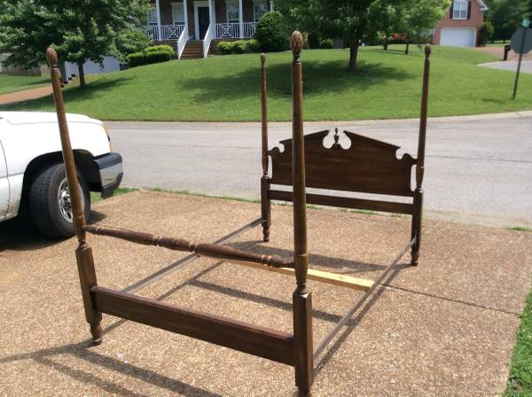 Full Size Four Poster Bed $125  - This would look so pretty painted.