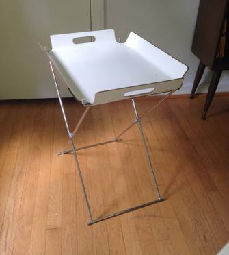 Set of 2 CB2 Tray Tables $60 - These are really cute little tables and could be really versatile, and they fold up so they are easy to store!