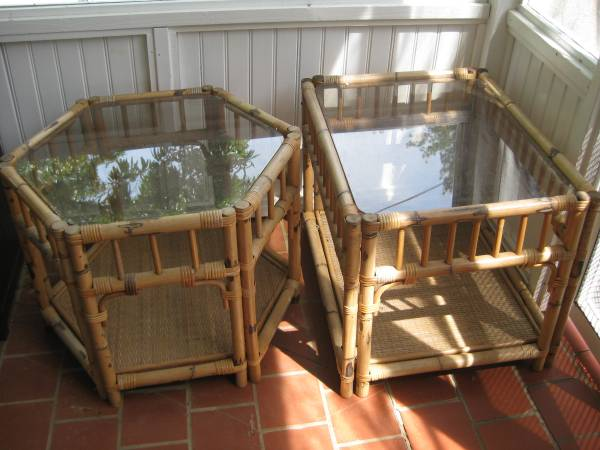 Bamboo Tables $40 for both  - These tables would look sp pretty painted.
