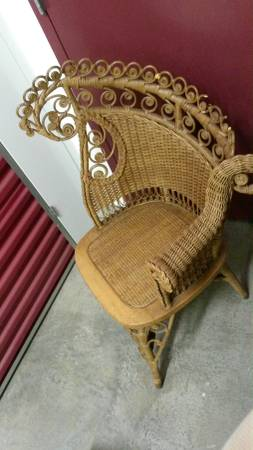 Antique Wicker Chair $75  - This is a really fun chair, would be a great statement piece in a room.