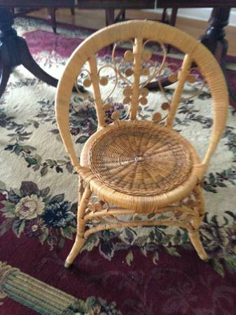 Wicker Chair $30  - This is a cute little wicker chair, perfect size for a kid's room.  I think it would look great spray painted either white or a color.