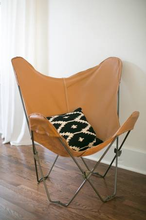 Camel Leather Butterfly Chair $100