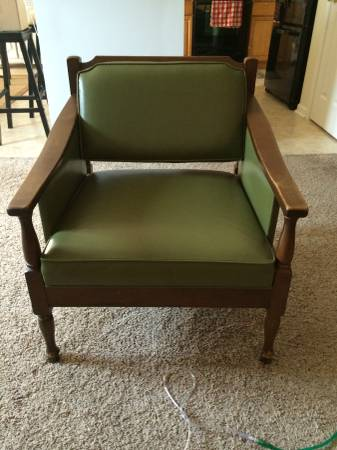 Pair of Chairs $30  - These chairs have a lot of potential, if you like the green you could modernize these by simply painting the wood.