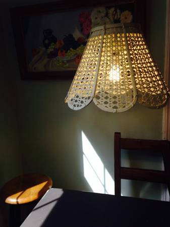 Vintage Wicker Light Fixture $45