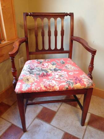 Set of 6 Antique Dining Chairs $170  - This is a pretty set and would be easy to reupholster the seats.