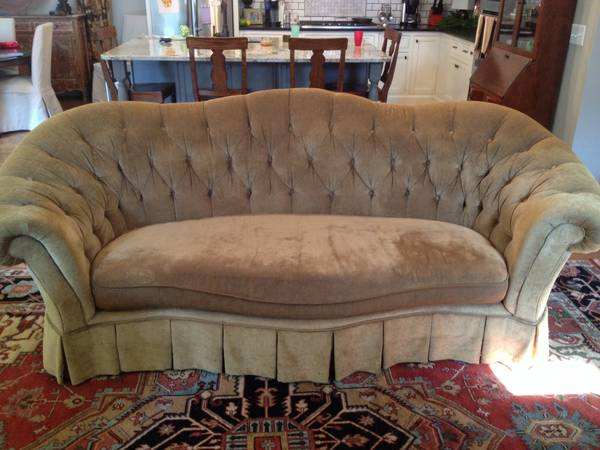 Tufted Camel Sofa with Skirted Bottom $350