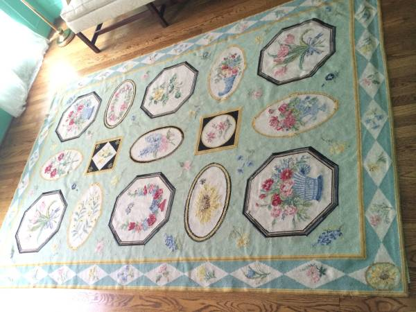 Stark Needlepoint Rug 9' x 6'     $375     View on Craigslist