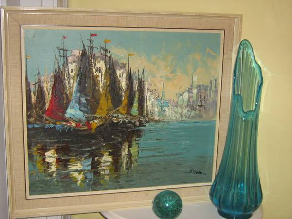 Retro Oil Painting     $100   Artwork speaks volumes in a room and having original artwork can really set your design apart. This is a good deal for an original oil painting and I love the colors and the layout of this piece. .     View on Craigslist