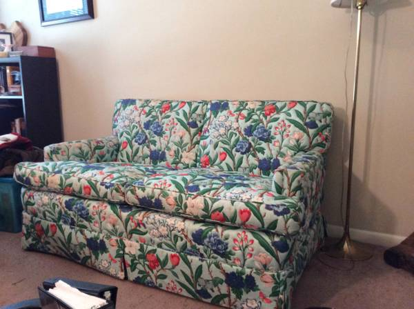 Floral Loveseat $75 Don't let a floral patterened sofa square you - although I realize it's not for everyone, styled properly this could be a great and stylish addition to a room. It just needs a few pillows to tone it down -  a few solid and maybe one or 2 with a geometric pattern. View on Craigslist