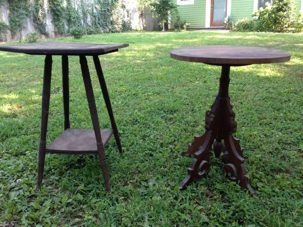 Two Side Tables $35 These tables both need a coat of paint but - $35 for both or $15 for the square top table and $25 for the round top table. View on Craigslist