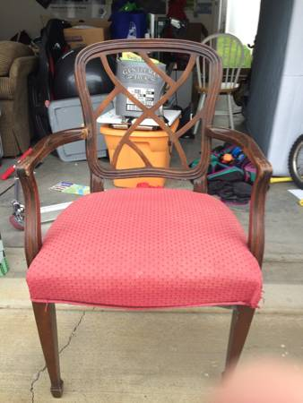 Antique Chair     $10   This would be a great project piece. Could use a coat of paint and some new fabric.    View on Craigslist