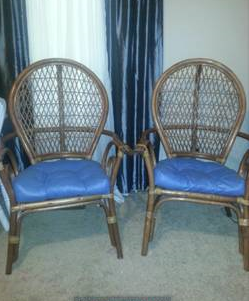 Pair of Bamboo Chairs     $35   I love bamboo chairs. These need a new cushion and could be used as is or painted. They are a good deal at $35.     See on Pinterest      View on Craigslist