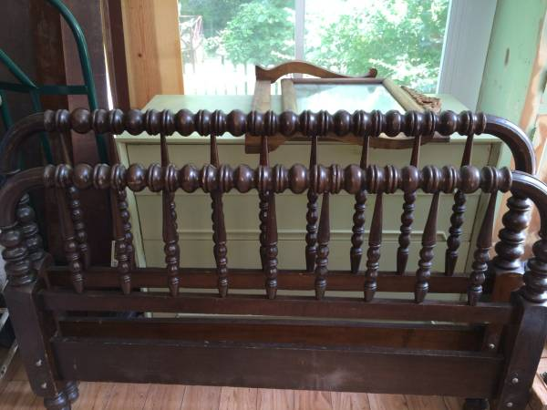 Antique Double Spindle Bed     $60   I love this spindle bed. It is very similar to a Jenny Lind bed. This would be so cute painted a bright color.    See on Pinterest      View on Craigslist