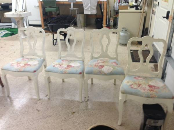 Set of Four Dining Chairs $50 This is a cute set, and for $50 its a good deal. Don't love the floral fabric? These seat cushions are really easy to reupholster.  View on Craigslist