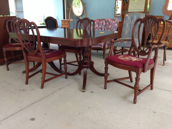 Antique Table with Shield Back Chairs $299 View on Craigslist