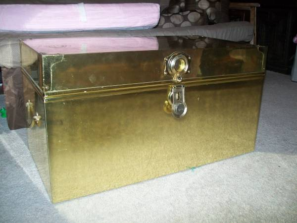 Brass Trunk     $150   These trunks sell for $300+. I think this would look stunning at the end of a bed or as a coffee table.    See on Pinterest      View on Craigslist
