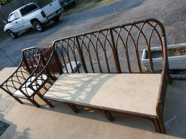Bamboo Couch and Chair     $130   This would look great painted and on a covered patio or screened in porch.    View on Craigslist