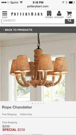 Pottery Barn Rope Chandelier $200 View on Craigslist