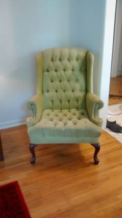 Pair of Tufted Wingback Chairs     $125   This is a great pair. I would paint the legs white  and throw some  pillows like these  on the chairs.     View on Craigslist