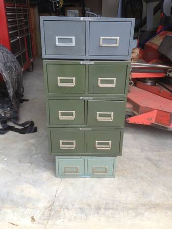 Index Card File Cabinet $50 This price is for all of these pieces. I think the middle green cabinet would be a fun nightstand or end table. View on Craigslist