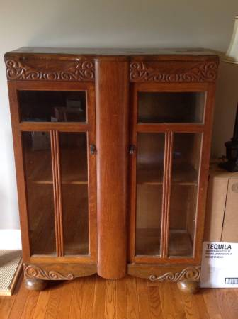 Antique Oak and Glass Bookcase $200 View on Craigslist