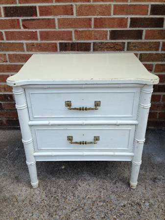 Faux Bamboo Nightstand     $40   I love these nightstands, there are 2 available. The white is really pretty but they would also look fabulous painted a fun color.    See on Pinterest      View on Craigslist