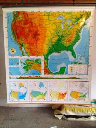 Vintage Maps     $75   This seller has several large pull down maps for sale. They would look great hanging on the wall.   See on Pinterest     View on Craigslist