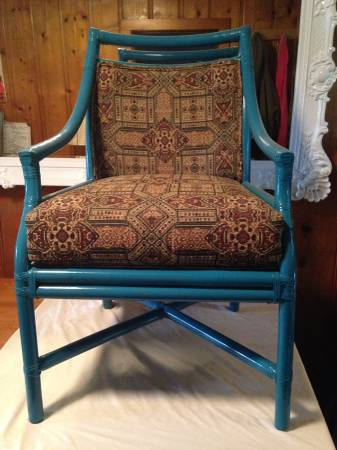 Bamboo Chair     $45   This fabric does not at all match this chair - I'd redo the fabric and either paint the chair or leave as is.    View on Craigslist