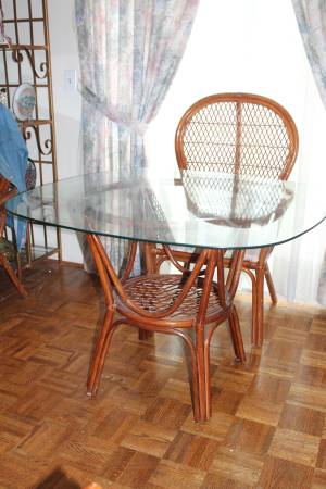Rattan Table and Chairs     $40   This would be totally transformed with a coat of paint. Check out my Pinterest link below for a similar painted set that sold for over $2000.    See on Pinterest      View on Craigslist