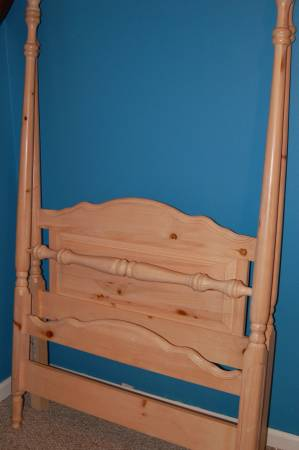 Twin Four Poster Bed     $100   This bed also comes with a dresser. They would look great painted.    View on Craigslist