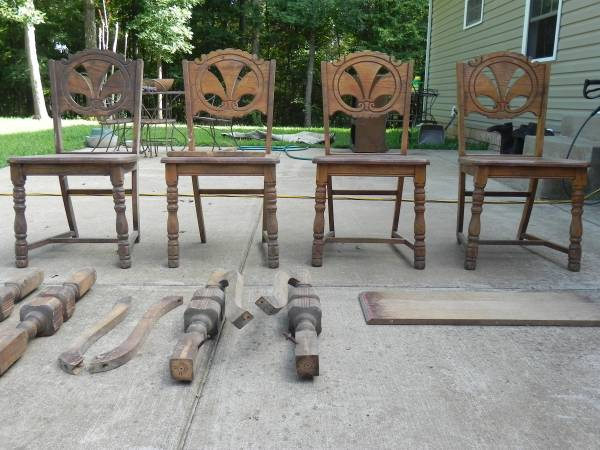 Antique Chairs and Table $ make offer These chairs and table are really pretty and unique. I actually like the finish as is but you could also paint them. Looks like they might need a little work but for the right price this could be a great set.  View on Craigslist