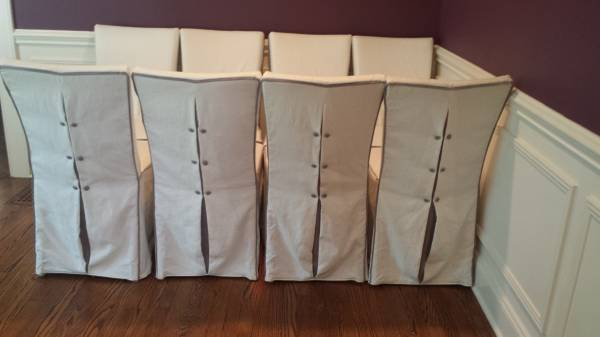 Set of 8 Linen Covered Dining Chairs     $750     View on Craigslist