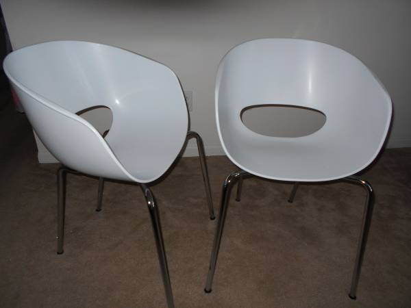 Pair of White Modern Chairs $80 View on Craigslist
