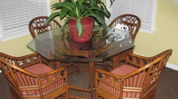 Rattan Dining Set     $70   This is a great set perfect for a sunroom or patio. It just needs new cushions and could be left as is or painted.    View on Craigslist