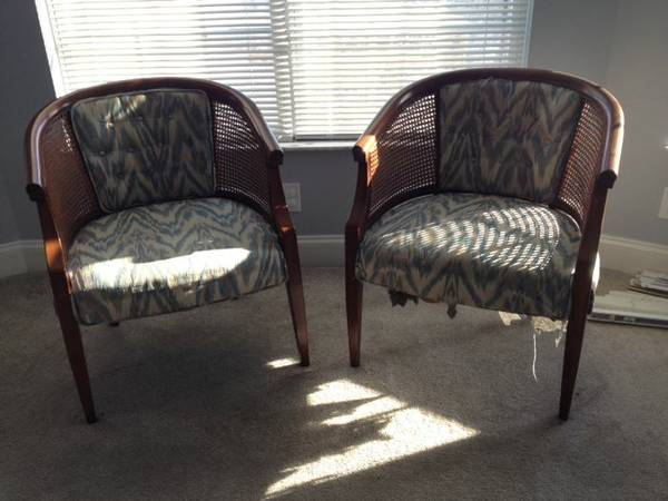 Pair of Cane Back Chairs     $50   I love these chairs and with a little bit of work (some paint and new fabric) they could be fabulous.  Here is a great tutorial  on how to redo this style of chair.     See on Pinterest      View on Craigslist