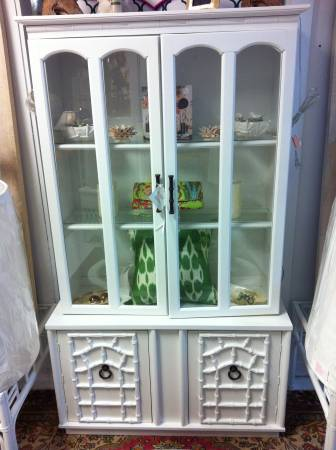 White Faux Bamboo China Cabinet     $350     View on Craigslist