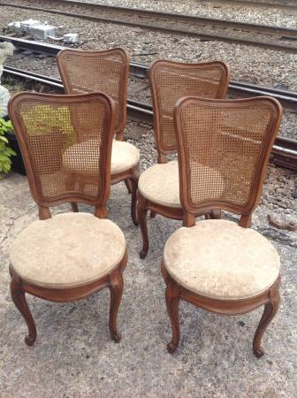 Cane Back Dining Chairs     $200   These would be pretty painted and with new fabric.     View on Craigslist