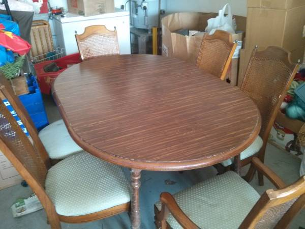 Dining Table with 6 Cane Back Chairs     $150   This set needs a bit of work but would be really pretty painted and with new fabric.    See on Pinterest      View on Craigslist