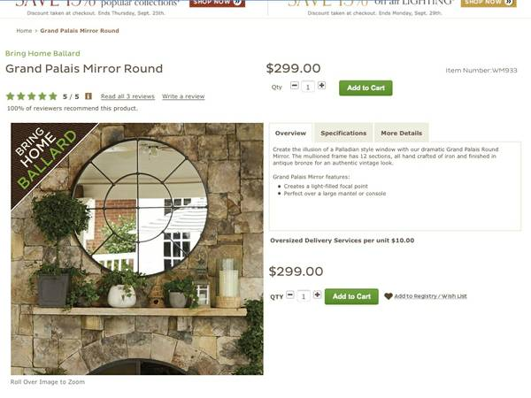 Ballard Designs Mirror     $125     View on Craigslist