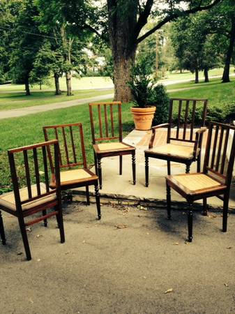 Set of Dining Chairs $200 These dining chairs have cane seats and have recently been re-caned.  View on Craigslist