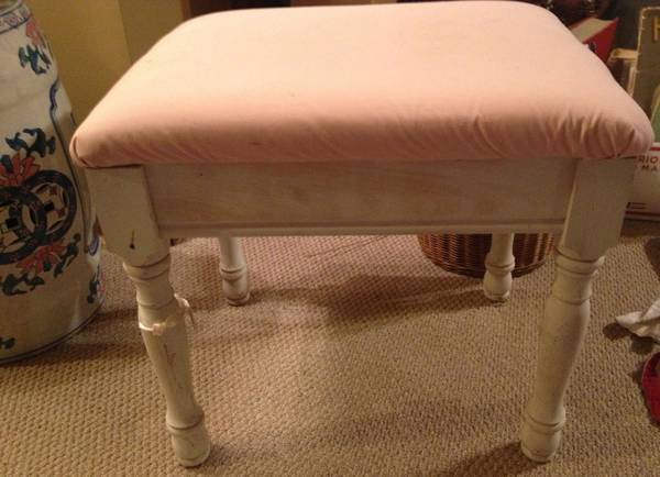 Small Stool     $15   This stool needs a coat of paint and new fabric.    View on Craigslist