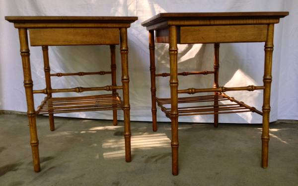 Hickory Chair Faux Bamboo Tables     $225   Love these tables!    View on Craigslist