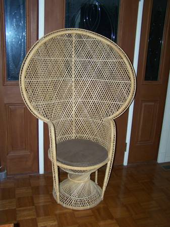 Wicker Peacock Chair     $20   This is a steal and looks like it is in good condition - use as is or you could paint it    See on Pinterest.      View on Craigslist