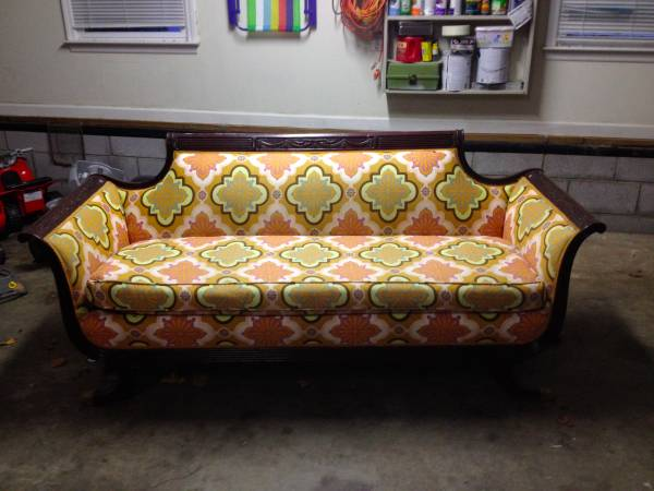 Vintage Reupholstered Sofa     $700   This is a fun piece - leave the wood as is or you could paint it.     View on Craigslist
